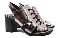 Босоножки женские стильные Donna Ricco натуральная кожа, цвет серебро (каблук, комфорт, Турция)