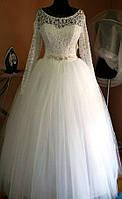 Свадебное платье. Фатиновая юбка. Длинный рукав.