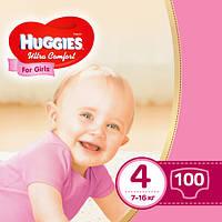 Подгузники Huggies Ultra Comfort для девочек 4 (7-16 кг) Mega Box 100 шт., фото 1