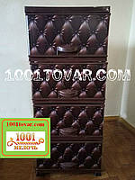 Комод пластиковый Еlif (Элиф), с рисунком Кожаный диван, коричневый