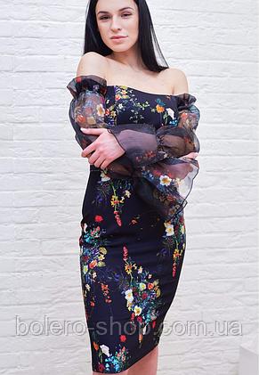 Платье женское чёрное в цветы Milano, фото 2