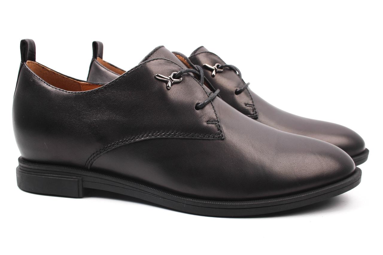 Туфли женские Deenoor натуральная кожа, цвет черный (каблук, стильные, комфорт, шнуровка)
