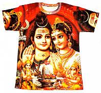 Футболка мужская короткий рукав цветная Шива с Парвати