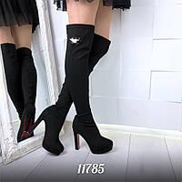 Женские стрейчевые ботфорты-чулки  демисезонные на каблуках
