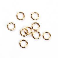 Колечко, Разрезное, Круглое, Цвет: золото, Нержавеющая сталь, 4 мм диаметр