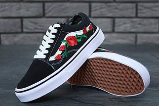 Кеды Vans Old Skool Black/White Roses (унисекс), vans old school, ванс олд скул, фото 2