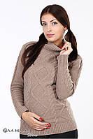 """Теплый свитер для беременных """"Milada"""",из овечьей шерсти, кофейный"""