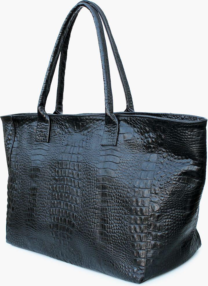 Сумка из кожи под крокодила DESIRE POOLPARTY desire-croco черная
