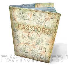 Обложка на паспорт кожаная Винтажный узор