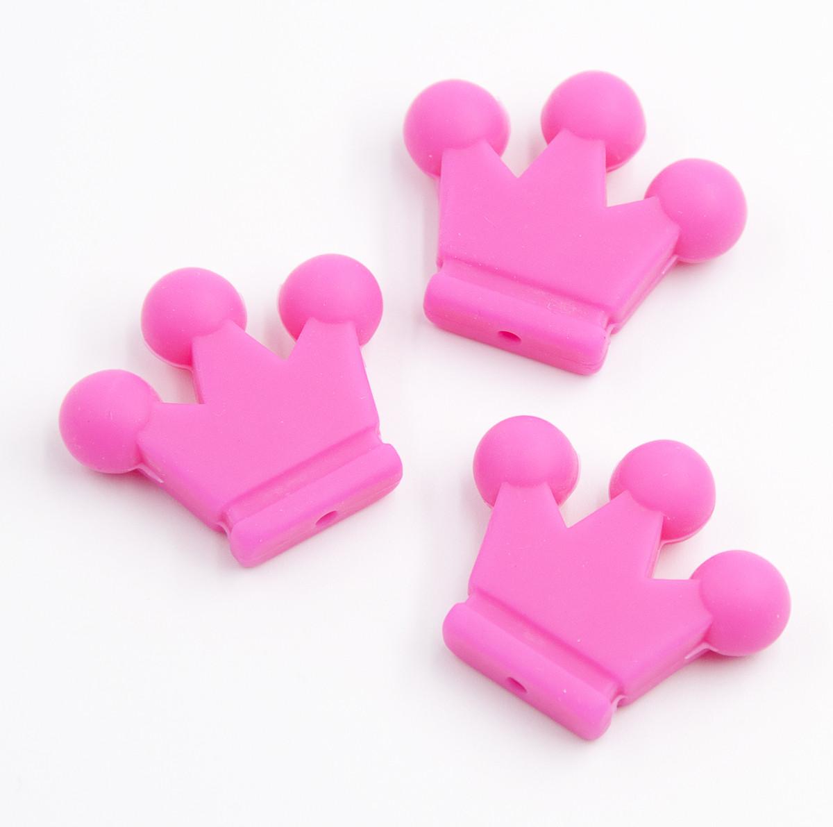 """Силиконовые бусины """"Короны"""" ярко розовые 34х29х7 мм"""