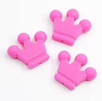 """Силиконовые бусины """"Короны"""" ярко розовые 34х29х7 мм, фото 1"""