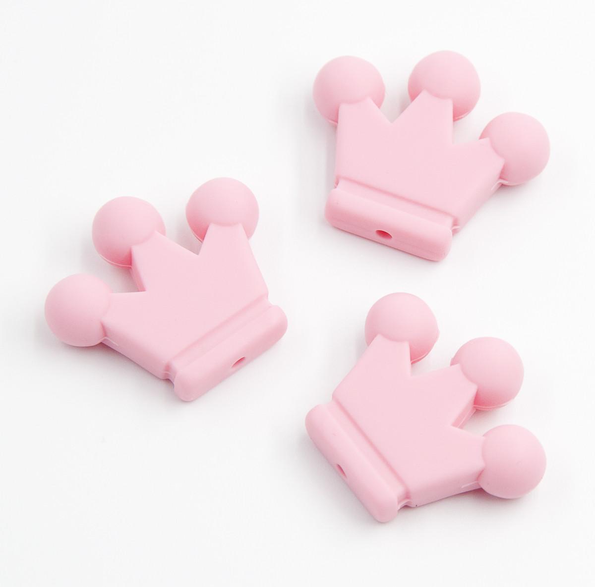 """Силиконовые бусины """"Короны"""" розовые 34х29х7 мм"""