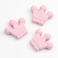 """Силиконовые бусины """"Короны"""" розовые 34х29х7 мм, фото 1"""