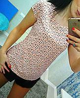 Розовая летняя легкая и очень эластичная женская футболка с принтом мелкие цветы. Арт-6260/8