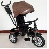 Трехколесный велосипед M 3646A-13 Turbo Trike, резиновые колеса,шоколадный