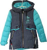 """Куртка подростковая демисезонная """"Monter"""" #66-379 для девочек. 8-9-10-11-12 лет. Серая+голубой. Оптом., фото 1"""