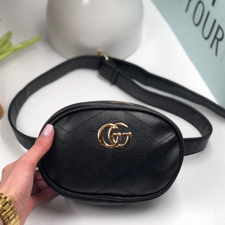 Женская сумка бананка на пояс реплика Gucci черная - VK-Style в Киеве 90e7537194c