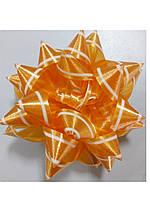 Бантик звёздочка оранжевый с белой окантовкой, фото 1