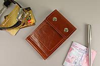 Зажим для денег на кнопках (коричневая гладкая кожа)