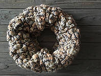 Вязаный женский снуд бежевый,зимний шарф снуд (труба) хомут, шерстяной шарф унисекс, вязаный снуд