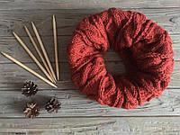 Вязаный зимний шарф снуд (труба),шерстяной шарф,шарф снуд терракотовый цвет,шарф аранами,унисекс шарф хомут