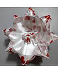 Бантик звёздочка белый красные сердечки, фото 3