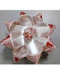 Бантик звёздочка белый красные сердечки, фото 2