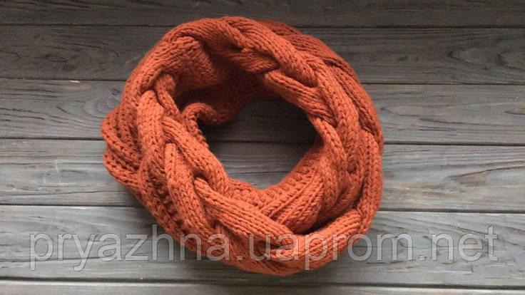 шерстяной шарф снуд терракотового цветашарф оверсайзмодный снудшерстяной шарф