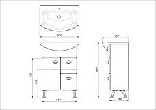 Тумба под раковину для ванной комнаты Жемчуг Жт 3-60 с умывальником Libra 60  ВанЛанд, фото 3
