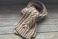 Длинный вязаный шарф,вязаный шарф бежевый цвет,шерстяной вязаный шарф,шарф аранами,зимний женский шарф