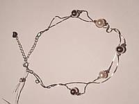 Серебряный браслет с жемчугом на ногу. Артикул Б2Ж/804Н