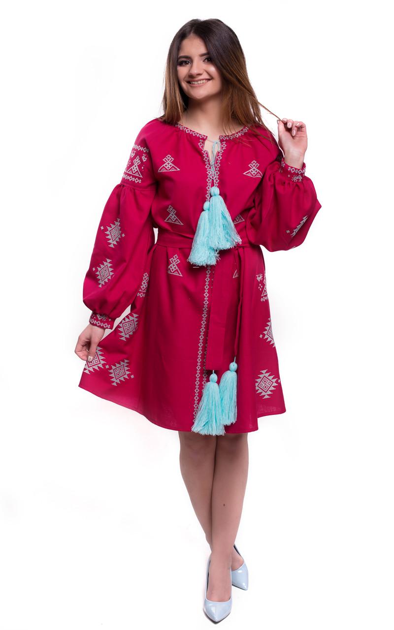 Женское пышное вышитое платье винного цвета «Тиффани» - Патриотический  интернет-магазин «Бандерівка cd30ff1040831