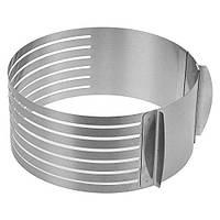 Кондитерское кольцо раздвижное с прорезями, делитель торта, делитель коржей d=24-30 см., h=8,5 см.