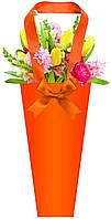 Бумажная сумка для цветов, оранжевая