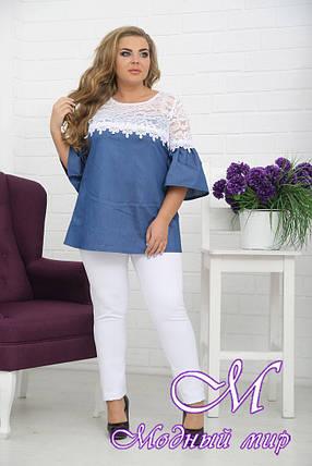 Женская джинсовая туника с гипюром батал (р. 48-90) арт. Хайден, фото 2