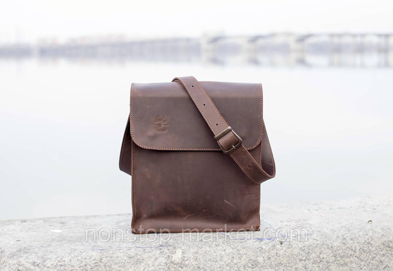 6a85cd9bd571 Мужская кожаная сумка ручной работы Практик Brown, Sharky Friends -  Nonstop-Market в Днепре