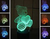 3d-светильник Мишка с сердцем, 3д-ночник, несколько подсветок (на пульте)