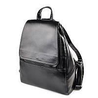 Черный женский рюкзак М104-Z городской глянцевый вместительный, фото 1