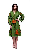 Зеленое платье с вышивкой из хлопка с цветочным узором «Ружа», фото 1