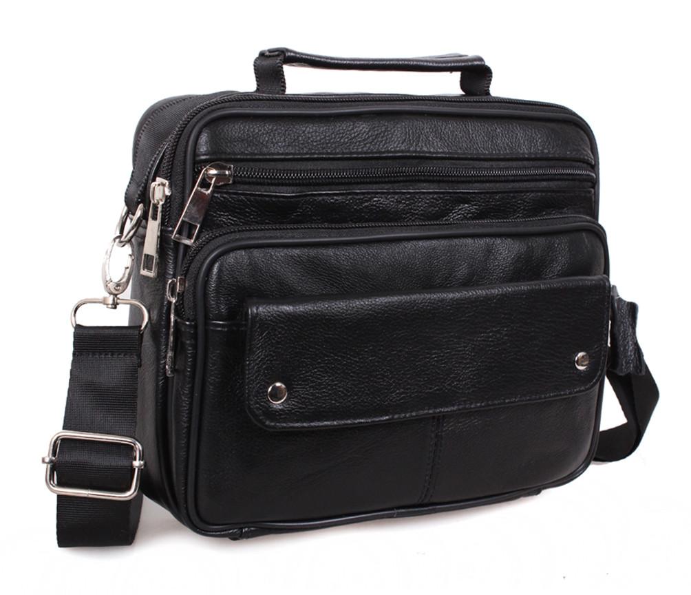 Мужская черная кожаная сумка Dovhani Black206 Черная