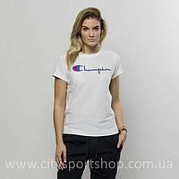 Champion Футболка женская с принтом • Белая | Бирка оригинальная • топ шмот