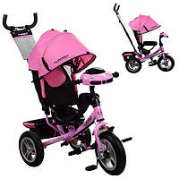 Трехколесный велосипед с фарой и ключом зажигания M 3115HA-10 на надувных колесах (нежно-розовый)
