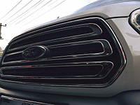 Накладки на решетку Транзит (Ford Transit 2014+ гг.) 3 шт нерж