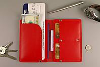 Чехол обложка для документов и билетов (красная гладкая кожа)