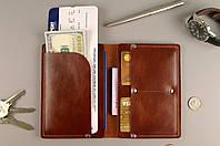 Чехол обложка для документов и билетов (коричневая гладкая кожа)