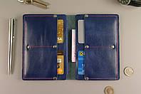 Чехол обложка для документов (синяя гладкая кожа)