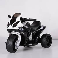 Детский мотоцикл на аккумуляторе BMW 706, кожаное сидение, три колеса, белый