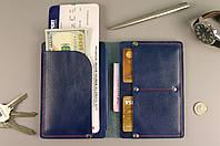 Чехол обложка для документов и билетов (синяя гладкая кожа)