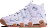 Женские кроссовки Nike Air More Uptempo White (Найк Аптемпо) белые