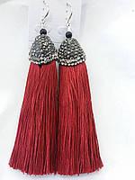 Шикарные серьги с бордовыми длинными кистями, серьги кисти 2241